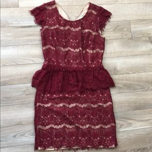 Red Anthropologie lace peplum dress
